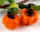 Pumpkin lampwork beads, orange handmade (10pcs)