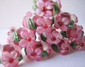 Pink flower, green leaves, handcrafted lampwork bead, rondelle 2pcs CBF-27