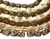 Chocolate candy lampwork beads handmade , creamy white dark (14pcs)