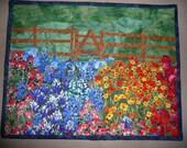 A Field of TEXAS Wild Flowers Art Quilt Wall Hanging  12 x 15