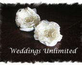 Ivory Handmade Bridal Flower Shoe Clips, Brooch Pins or Alligator Clips Accented With Pearls