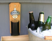 Personalized Cap Catcher Bottle Opener, Groomsmen Gift, Gifts for men - Magnetic or Wall Mount, Leather Pouch