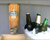 Personalized Cap Catcher Bottle Opener, Groomsmen Gift - Magnetic or Wall Mount, Clear Pouch