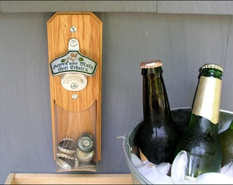 German Beer Bottle Opener, Oktoberfest, Bottle Cap Catcher with Clear Pouch - Magnetic or Wall Mount