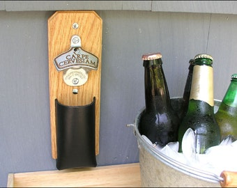 Carpe Cervesiam Bottle Opener, Bottle Cap Catcher - Leather Pouch, Magnetic or Wall Mount
