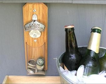 Carpe Cervesiam Bottle Opener, Bottle Cap Catcher, Novlety Beer Gift - Clear Pouch, Magnetic or Wall Mount