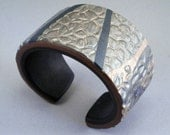Handcrafted Wide Cuff - Bold Bronze Olive Green Gold Stamped Metallic Inlaid Bracelet No. 134