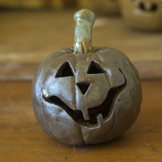 One of a Kind Carved ceramic Jack o Lantern Pumpkin - EARLY BIRD SPECIAL