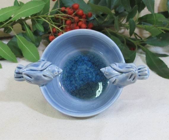 Denim Blue Ceramic Bowl with two Birds and a  Recycled Glass Puddle
