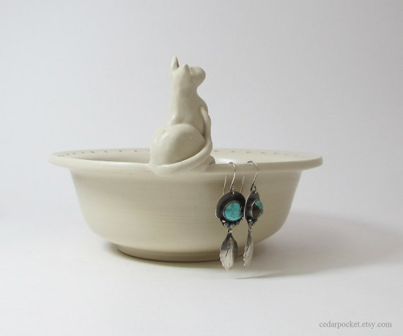 hand sculpted cat earring bowl Ceramic Clay  & Recycled Glass