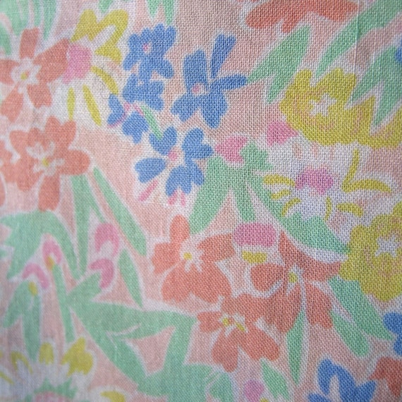 Reserved for Hiromi Just Peachy -- Vintage Cotton Lawn Fabric --  2 yards x 36 wide inches with selvedges