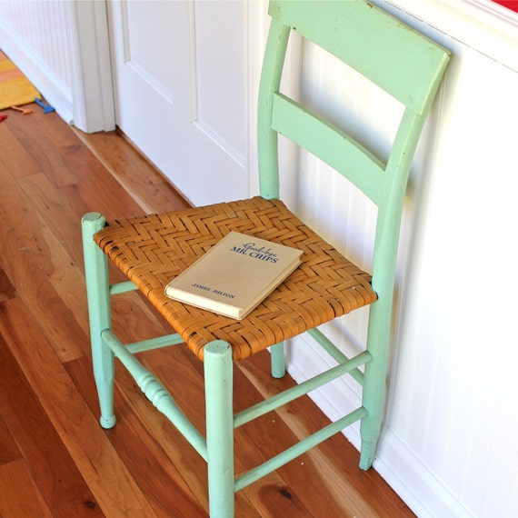 Painted Vintage Kitchen Chair Basket Weave Seat