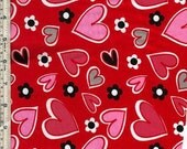 Red and Pink Hearts PUL Fabric Waterproof Diaper Cut