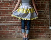 Grey and Yellow Ruffled Sassy Half Apron