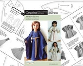 "Medieval Doll Dress Historical Paper Pattern in two 18"" Dolls Sizes: for 18"" Slim Vinyl dolls and for 18"" American Girl Dolls"