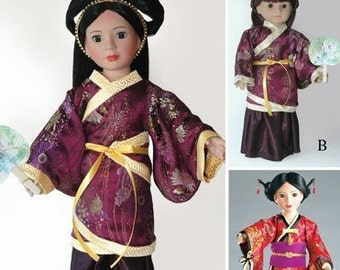 """Chinese Hanfu Dress and Japanese Kimono, Doll Clothes Pattern in 2 sizes: for 18"""" American Girl Dolls and for slim Carpatina dolls"""