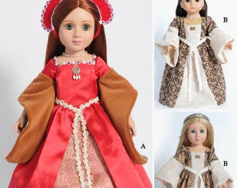 """Medieval Tudor Period Dress Paper Pattern in two Dolls Sizes, 18"""" American Girl size Dolls and Slim Carpatina dolls"""