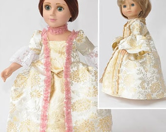 """Period 18"""" Doll Clothes Pattern for Robe à la Française in 2 sizes: for 18"""" American Girl Dolls and for slim Carpatina and BJD dolls"""