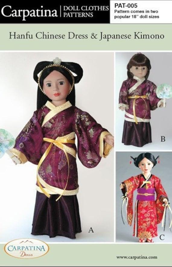 Chinese Hanfu Dress And Japanese Kimono Doll Clothes Pattern