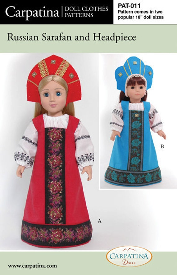 "Russian Sarafan Costume Doll Clothes Pattern in two Sizes, 18"" American Girl Dolls and 18"" Slim Carpatina dolls"