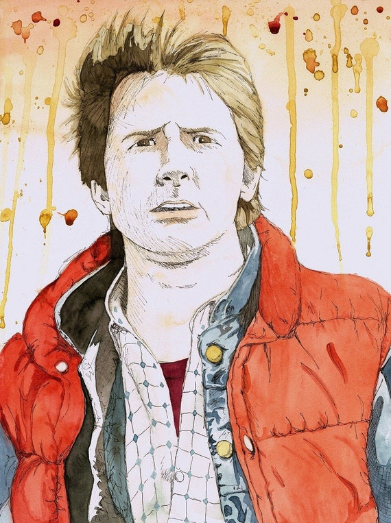 "Original ""1955"" Back to the Future Watercolor Art Print Poster Marty McFly"