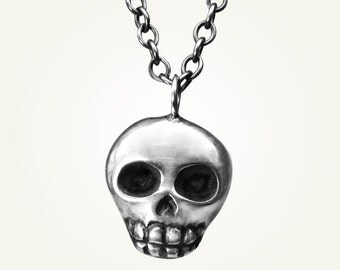 Skull Necklace, Sterling Silver, Handcrafted, Oxidized Black, Day of the Dead, Skeleton, Halloween. SKULLY NECKLACE.