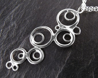 Bubble Necklace, Sterling Silver, Overlapping Circles, Handcrafted, Polka Dots, Unique, Waterfall. Angel Falls Necklace.
