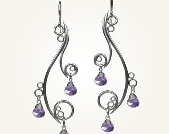 Spiral Earrings, Sterling Silver, Handcrafted, Amethyst Gemstone, Bubble, Wave, Swirl, Loop, Chandelier. GREEK ISLE EARRINGS with Amethyst.
