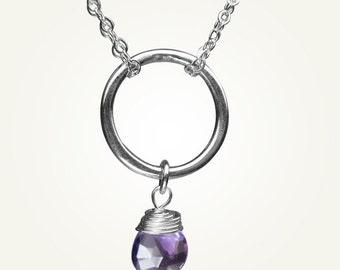 February Birthstone, Amethyst Necklace, Amethyst Pendant, ORBIT NECKLACE with Amethyst.