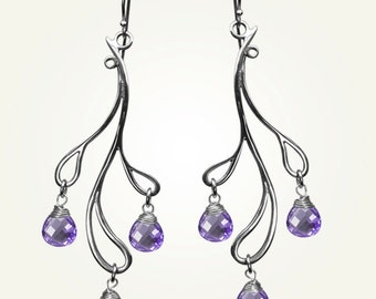 Teardrop Earrings, Sterling Silver, Handcrafted, Amethyst Purple Gemstone, Wedding, Branch, Elegant. HAMA RIKYU EARRINGS with Amethyst.