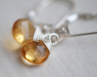 November Birthstone, Citrine Earrings, CANDY DROP EARRINGS in Citrine.