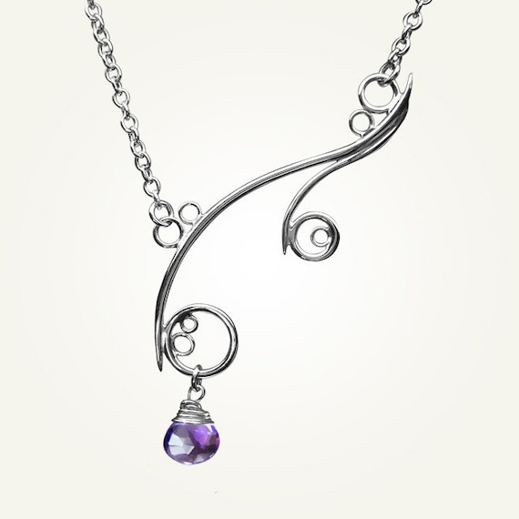 Spiral Necklace, Sterling Silver, Handcrafted, Purple Gemstone, Bubble, Wave, Swirl, Loop. GREEK ISLE NECKLACE with Amethyst.