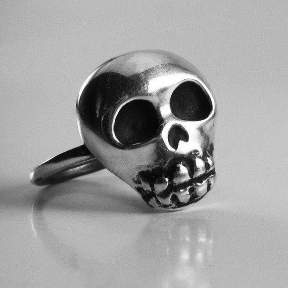 Skull Ring, Sterling Silver, Handcrafted, Oxidized Black, Day of the Dead, Skeleton, Halloween. SKULLY.