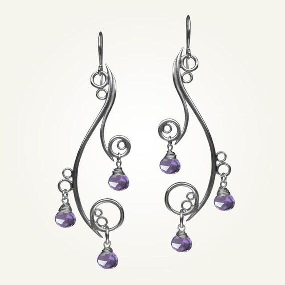 Spiral Earrings, Sterling Silver, Handcrafted, Amethyst Gemstone, Bubble, Wave, Swirl, Loop, Chandelier. GREEK ISLE EARRINGS with Amethyst.