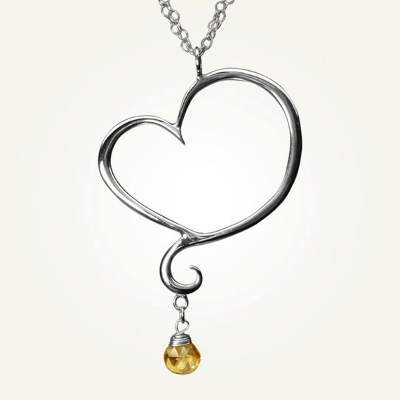Heart Necklace with Citrine, Sterling Silver, Handcrafted, November Birthstone, Swirl, Unique, Elegant. APHRODITE NECKLACE with Citrine.