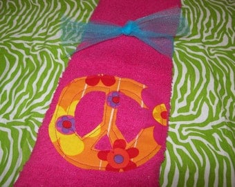 Super cute Pink peace sign wash cloth towel ready to ship