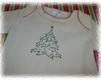 Christmas tree Holiday rhinestone onesie 3-6 months