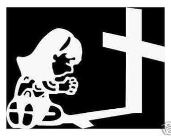 Girl praying at the cross vinyl decal sticker