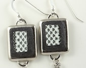Black and White Upcycled Mosaic Earrings with Drops - Eco Friendly made from Broken China