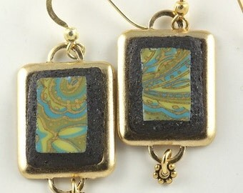 Iridescent Gold & Lime Green Broken China Earrings Upcycled Eco Friendly Mosaic