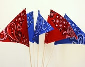 Bandana Print Tabletop Party Pennants Set of 6