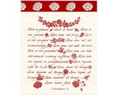 LOVE IS --- 5 X 7 Hand Written Calligraphy Red & White Greeting Card 1 Corinthians 13 (Custom message inside available)