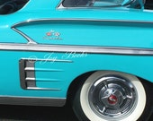 BLUE CHEVY IMPALA Classic Cars Note Card