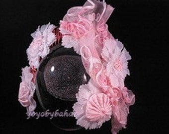 Handmaden Cotton Candy Hair Fascinatorm with Appliques
