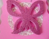 Pink Thank You Cards With Pink Glitter Foam Butterflies  C30