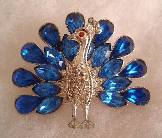 Vintage BLUE Peacock RHINESTONE Pin