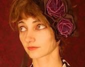 Velvet rose tie-on bonnet