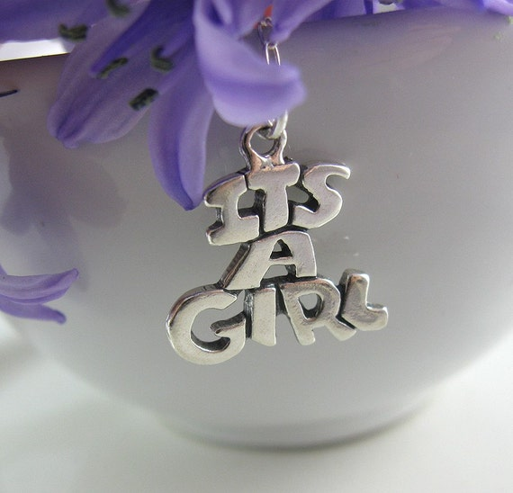 SUMMER SALE It's a Girl Necklace - Sterling Silver Pregnancy Necklace