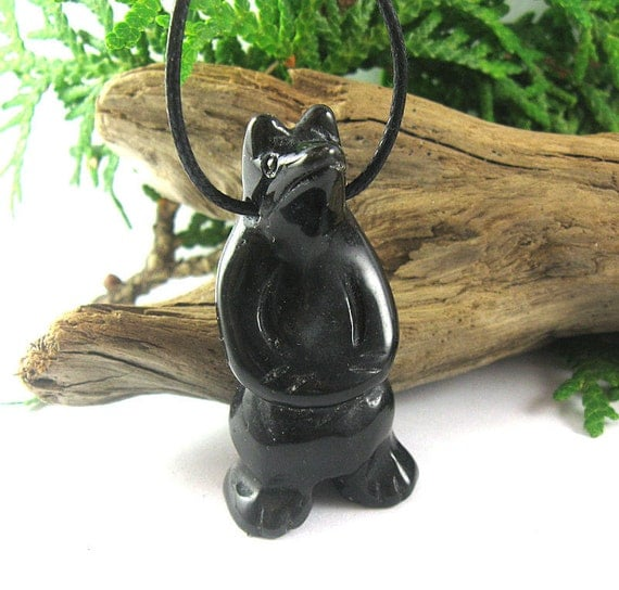 Mama Bear Nursing Necklace - Black Obsidian Mother's Necklace