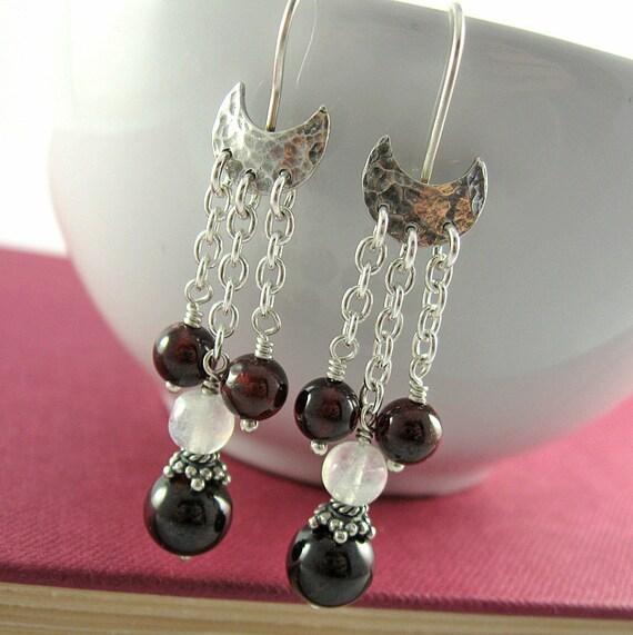 Crimson Moon Earrings - Red Tent Jewelry - Garnet & Moonstone